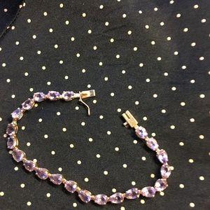 14kt gold amethyst tennis bracelet